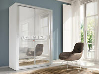 A 2 Door Sliding mirror wardrob 150cm Wide White/Grey Finish- Brand New