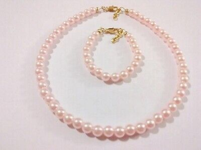 - Newborn/Baby girls gold plated pink pearl bracelet and necklace set