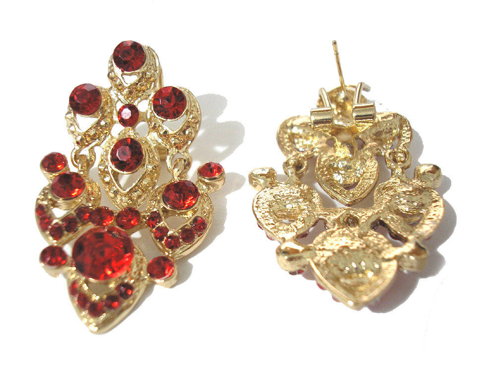 18K Gold Plated Earrings With Red Stones Item 4759 - $3.95