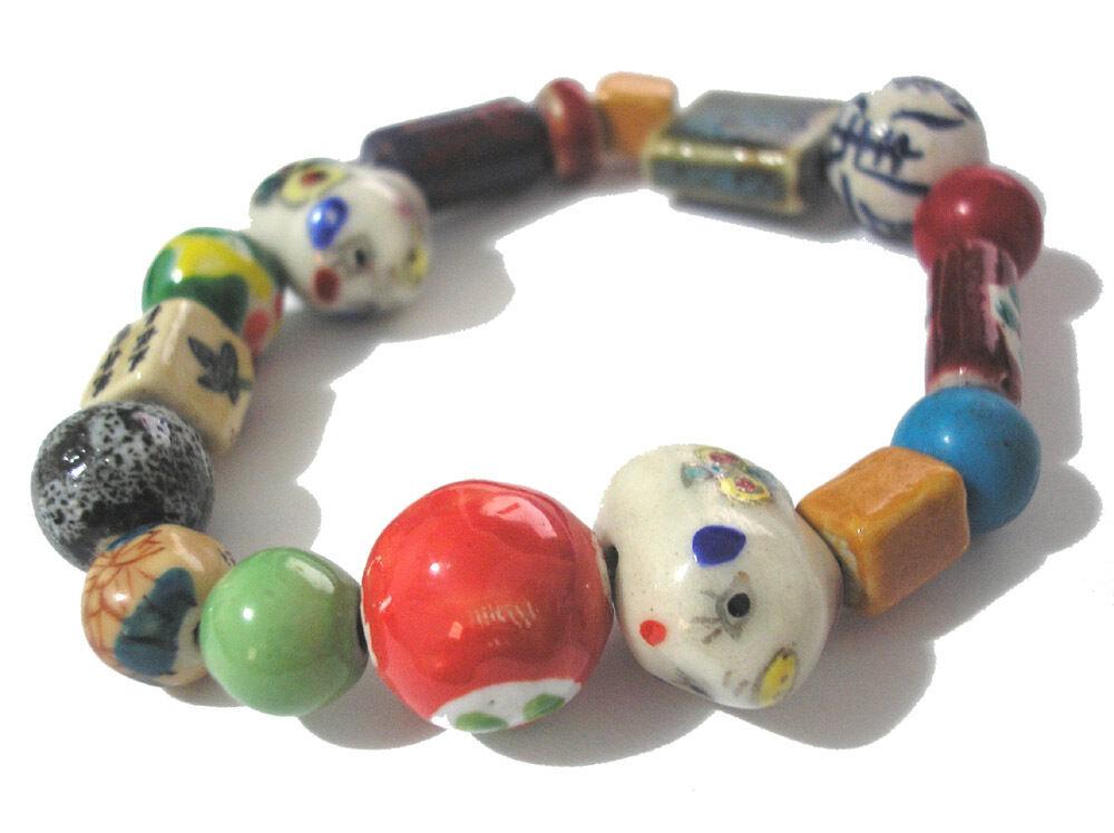 Multicolor Porcelain Bead Stretch Bracelet Item 4815 - $1.19
