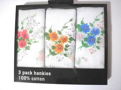 """3 pcs Ladies Cotton Floral Hankies Handkerchief Size 11"""""""