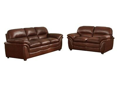 Sofa & Loveseat Cognac Brown Contemporary Modern Leathersoft* New