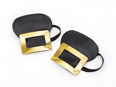 Piraten Schuhe Schnallen Georgianisches Maskerade Gold Metall Period Kostüm - Schwarze Piraten Kostüm Schuhe