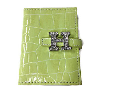 Russ Berrie - Pocket Size Notebook - Green - Rhinestone Monogrammed