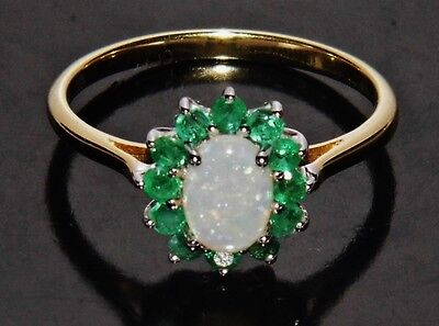 9ct Yellow Gold & Silver Natural Opal & Emerald Ladies Cluster Ring size Q
