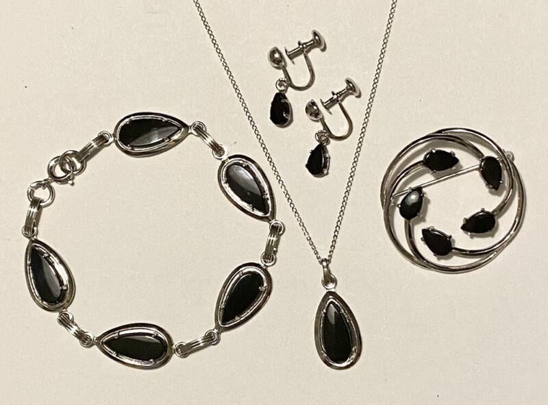 Vintage SARAH COVENTRY Sterling Onyx Pendant Necklace Bracelet Pin Earrings Set