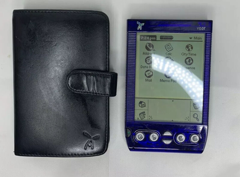 Handspring Visor Deluxe Translucent Blue Portable PDA Organizer Palm Pilot Case