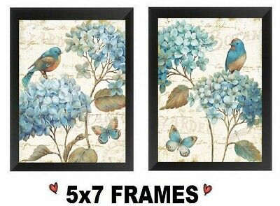 💗 5x7 Blue Hydrangea Pictures Paris Floral Flowers Bird Butterfly Wall Hanging
