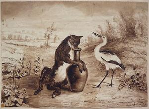 Dessin 19e si cle fable de la fontaine cigogne renard proche granville ebay - Le renard et la cigogne dessin ...