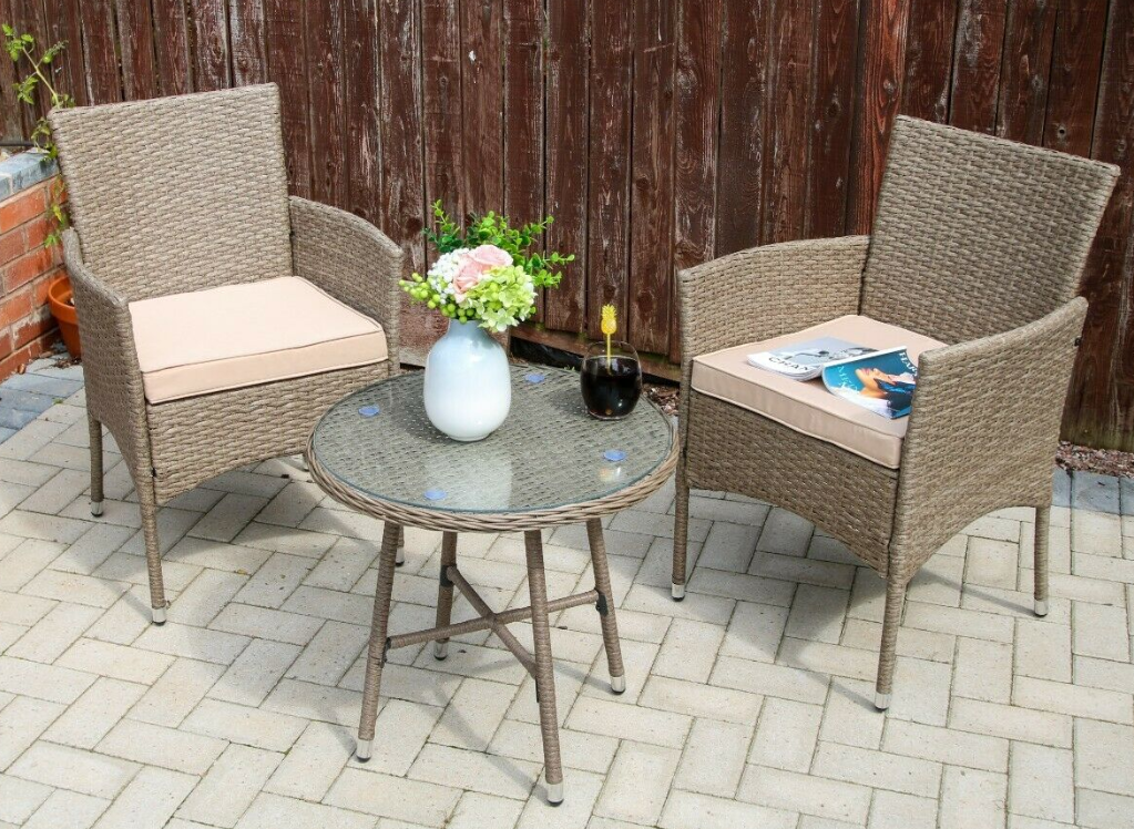 Garden Furniture - 3/4-Piece Outdoor Rattan Garden Furniture Conservatory Small Set Table and Chair