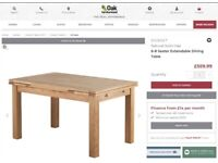 Real Oak Wood Dining Table extendable OAK FURNITURE LAND