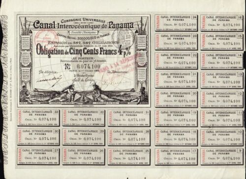 Comp Universelle Canal Interoceanique de PANAMA 1884 Lesseps  500 FR 4%