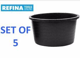 5 REFINA 65 LITRE PLASTER HEAVY DUTY PLASTIC TUB CEMENT SKIMMING REPLACE BENSON