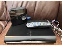 Sky HD Plus Box and Sky WiFi Home Hub, power cables and remote.