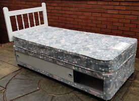 single-size Silentnight bed base + mattress + headboard. Has under storage space. Good condition