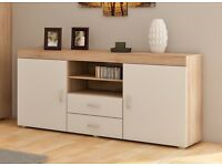 Samba: 2 Door Cupboard with 2 Drawers In Sanoma Oak/White *NEW*