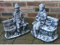 Industrial chic - a pair of unique, handpainted concrete ornaments - old man and old lady on bench