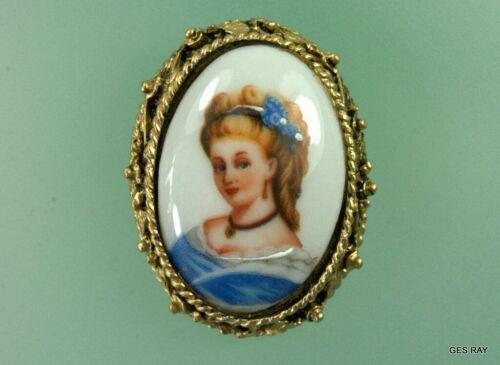 Antique FRANCE Limoges Brooch Pin Pendant Signed Oval Porcelain Cameo *