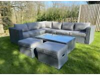 FREE DELIVERY BRAND NEW YAKOE GREY GARDEN RATTAN CORNER SOFA, GLASS TABLE & STOOLS IN BOX