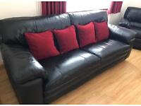 Carolina Black Leather 3 Seater Sofa and Two Armchairs