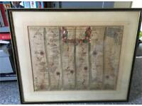 Antique road map - John Ogilby c 1675. Bristol to Weymouth Framed.