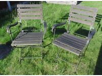 (#555) 2 metal old garden folding chairs chair (Pick up only, Dy4 area)