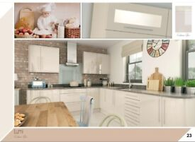 Slab Cream Gloss Kitchen Only £1145