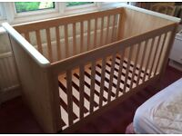 Mamas and Papas 'Murano' oak-effect cotbed. Excellent condition. Full assembly instructions inc.