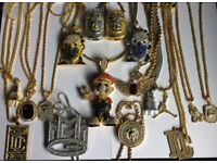 Jewellery Iced Out Chain Pendant Rapper Gangster Ice Jewels Shiny Bling Chain Necklace Silver Gold