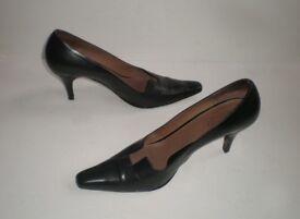 Gucci Black Leather Shoes Heels, size: UK 7 / EU 40