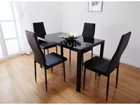 【FREE & FAST DELIVERY】BRAND NEW BLACK GLASS DINING TABLE WITH 4 FAUX LEATHER CHAIRS