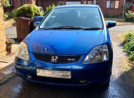 Honda Civic 2003 2.0 Type S, Vivid Blue - MOT fail - spares or repair