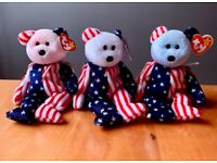 RARE COLLECTABLE TY BEANIE BABIES - RED, WHITE AND BLUE FACED SPANGLE x 3