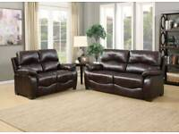 Bonded leather 3 + 2 (non recliner) Sofa set! Come new boxed! Brown