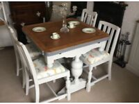 Solid Oak Extending Dining Table & Four Chairs Shabby Chic