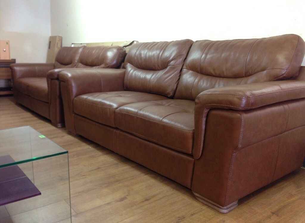 Scs Dayson 3 Seater Tan Brown Leather Sofa Suite