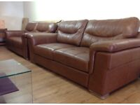 ScS DAYSON - 3+3 Seater TAN BROWN LEATHER Sofa Suite