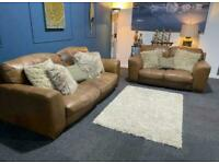 Rustic tan leather suite 3 seater and 2 seater distressed sofas