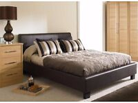 FREE & FAST DELIVERY LEATHER BED-DOUBLE SIZE FRAME -BLACK-BROWN- WITH MATTRESS