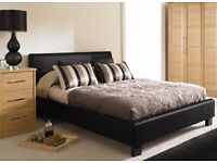 BRAND NEW DOUBLE FAUX LEATHER BED FRAME WITH MEMORY FOAM MATTRESS BLACK / BROWN