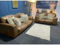 Tan leather distressed rustic suite 3 seater sofa and 2 seater sofa