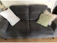 Grey 2 Seater Sofa - Fabric