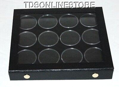 Gem Storage Attached Top Case 12 Jars Black Foam