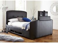 "Leather bed frame with built in 32"" TV and brand new sprung memory foam mattress"
