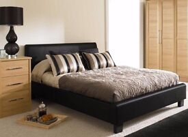 BRAND NEW DOUBLE LEATHER BED IN FLATPACK WITH A RANGE OF QUALITY MATTRESS