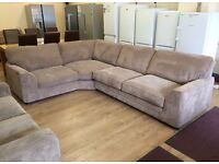 ScS Dreamer, Beige Jumbo Cord Fabric CORNER SOFA + FREE LOCAL DELIVERY
