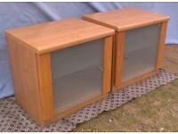 PAIR OF BEDSIDE CABINETS or CUPBOARDS - GLASS DOOR & SHELF