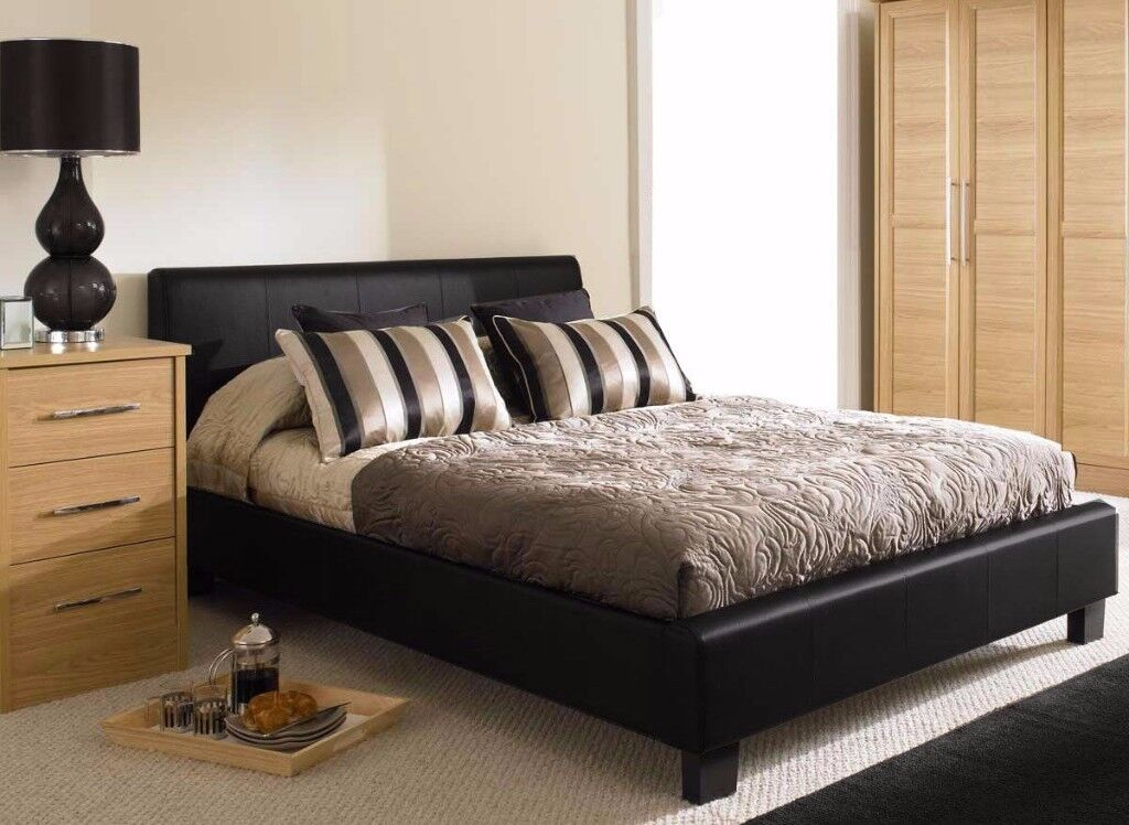 UK FAMED LEATHER BED IN KING SIZE WITH SEMI ORTHOPAEDIC MATTRESS (BLACK & BROWN)