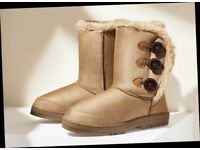 Faux Fur Boots With Buttons NEW