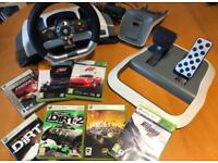 Official XBOX 360 Wireless Force Feed Back Steering Wheel with power and 7 driving games.